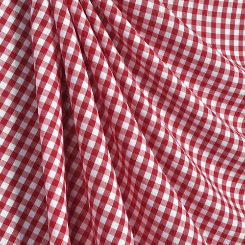 "3/8"" (1cm) Gingham Cotton Fabric 44""W - Red & White"
