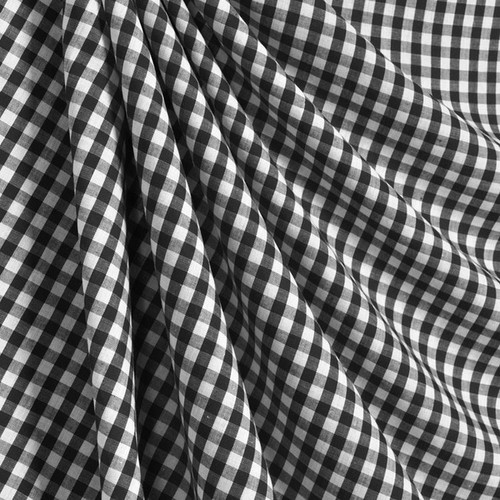 "3/8"" (1cm) Gingham Cotton Fabric 44""W - Black & White"