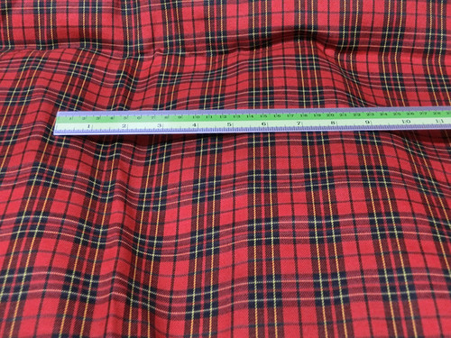 "Plaid Tartan Woven Cotton Fabric 44""W - Red Black"