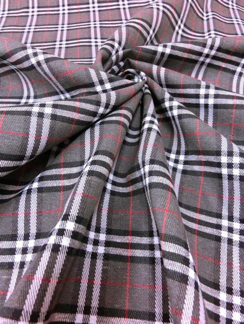 "Plaid Tartan Woven Cotton Fabric 44""W Gray White Black"
