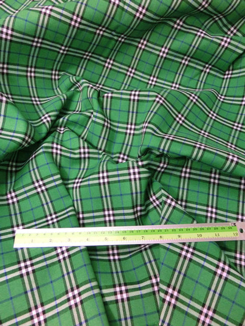 "Plaid Tartan Woven Cotton Fabric 44""W - Green"