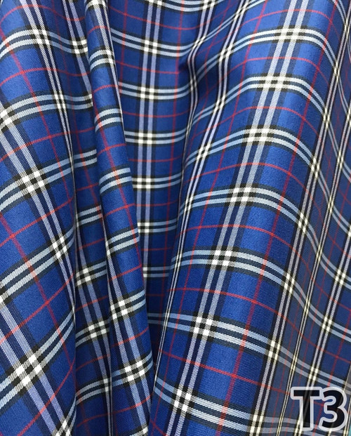 "Plaid Tartan Woven Cotton Fabric 44""W - Royal Blue"
