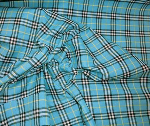 "Plaid Tartan Woven Cotton Fabric 44""W - Turquoise"