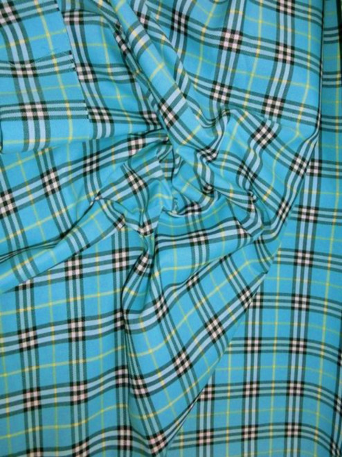 "Plaid Tartan Woven Cotton Fabric 44""W - Turquoise"