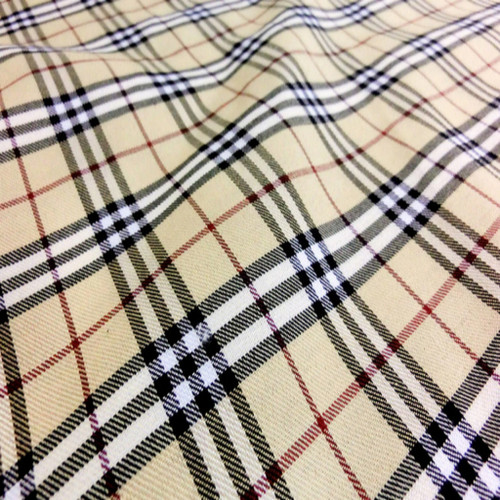 "Plaid Woven Cotton Fabric 44""W - Tan Ivory Black Red"
