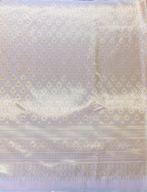 "Thai Silk Damask Traditional Pattern 40""x72"" Fabric Material - Golden Pink"