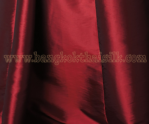 "Dark Red Shot Black Faux Silk Taffeta 60""W Fabric"
