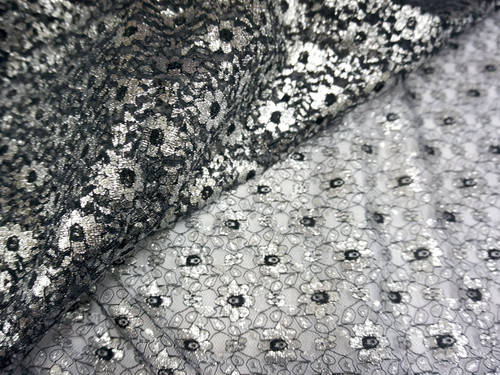 Jasmine Flower Embroidered Net Mesh Fabric - Black & Silver