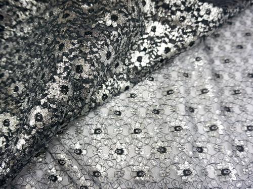 Jasmine Flower Embroidered Net Mesh Fabric - Black & Silver