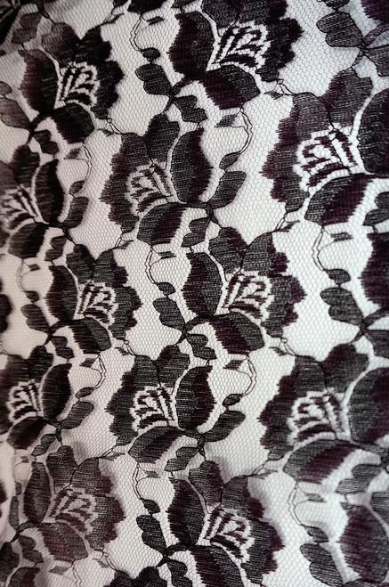 Freesia Flower Net Mesh Fabric - Black