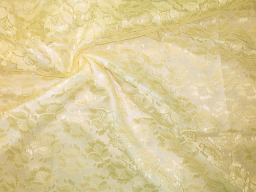 Freesia Flower Net Mesh Fabric - Yellow Canary
