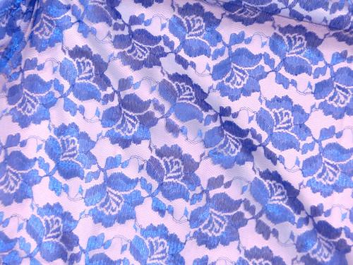 Freesia Flower Net Mesh Fabric - Royal Blue