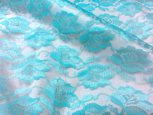 Freesia Flower Net Mesh Fabric - Turquoise