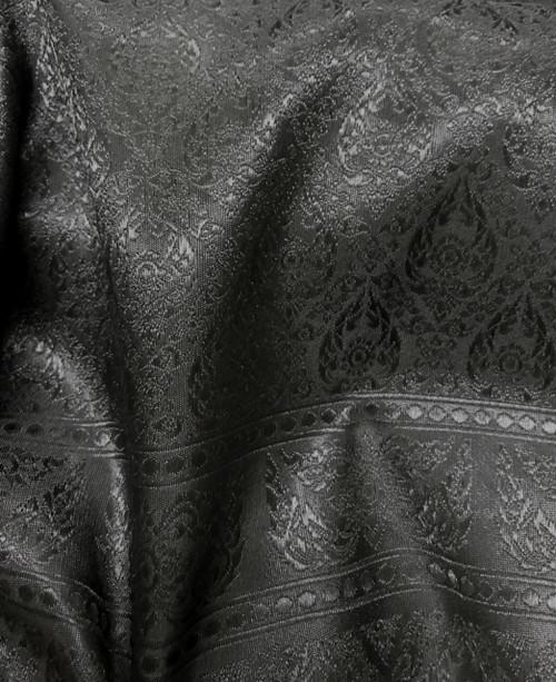 """Thai Silk Damask 40""""W Fabric - Black"""