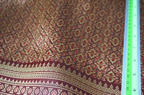 "Thai Silk Damask 40""W Fabric - Burgundy Red & Gold"