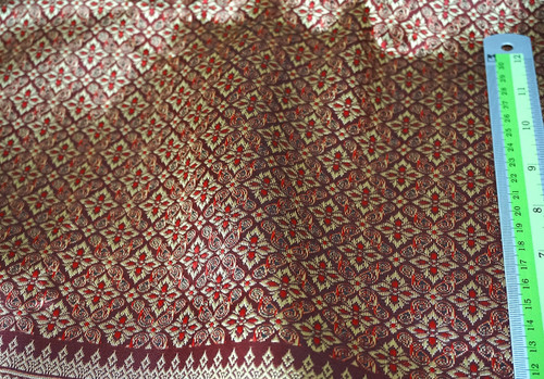 "Thai Silk Damask 40""W Fabric - Burgundy Red & Gold"