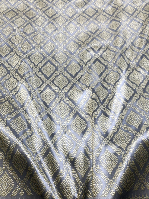 "Thai Silk Damask 40""W Fabric (LD) - Dark Gray & Gold"