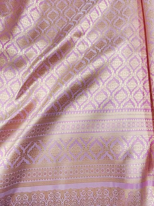 "Thai Silk Damask 40""W Fabric (KN)- Pink & Gold"