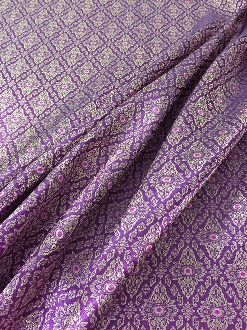 "Thai Silk Damask 40""W Fabric - Fuchsia Gold"