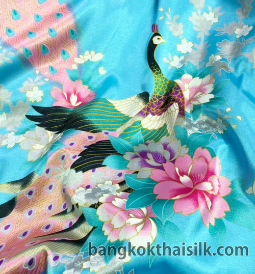 "Peacock Faux Silk Satin Fabric 48""W - Blue Turquoise"