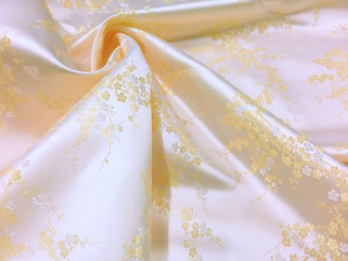Cream & Gold Silk Shantung Cherry Blossom Brocade