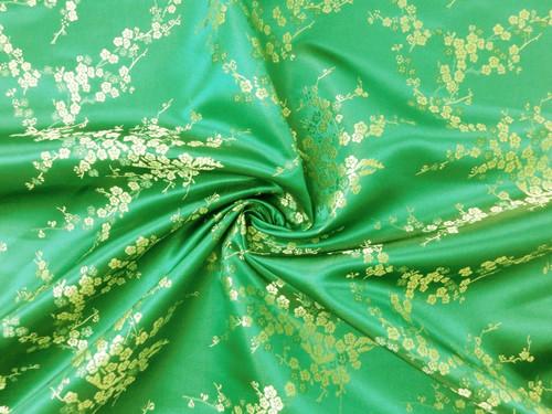 Emerald Green & Gold Silk Shantung Cherry Blossom Brocade