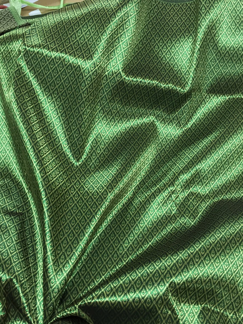 "Thai Silk Damask 40""x72"" Fabric - Emerald & Gold"