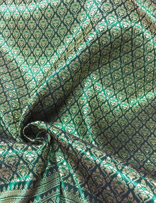 "Thai Silk Damask 40""x72"" Fabric - Emerald & Gold"