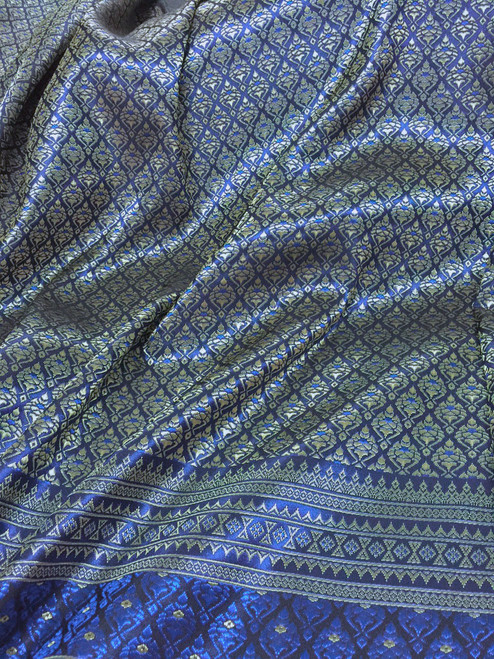 "Thai Silk Damask Tradition Pattern Fabric 40""X72"" - Blue & Gold"