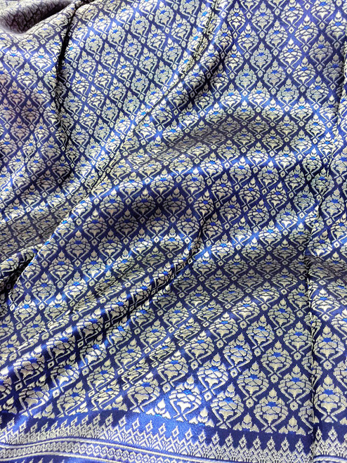 "Thai Silk Damask Tradition Pattern Fabric 40""X72"" - Blue & Gold"