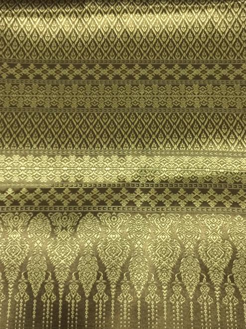 "Thai Silk Damask 40""W Fabric - Brown Gold"