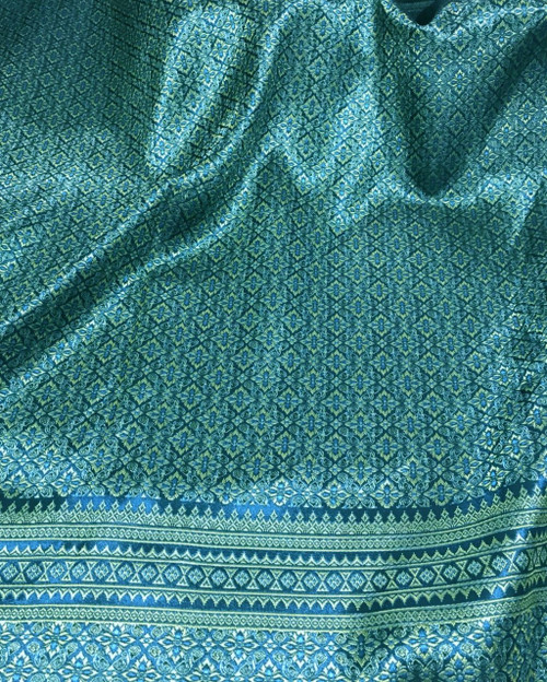 "Thai Silk Damask 40""x72"" Fabric - Teal & Gold"