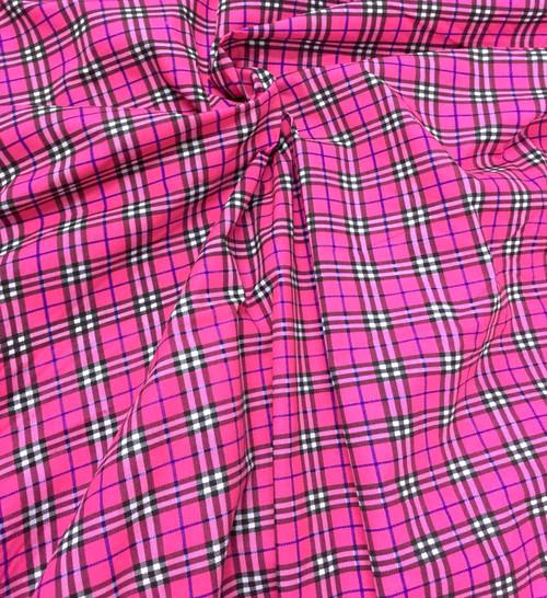"""Plaid Tartan Print Fabric 44""""W - Hot Pink"""