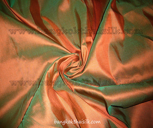 Russet Shot Green - 100% Authentic Silk Fabric