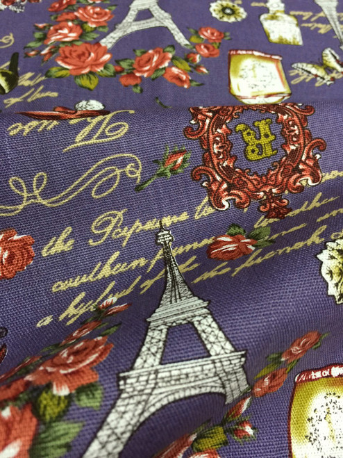 "Paris Rosette Print 100% Cotton Fabric 44""W - Purple"