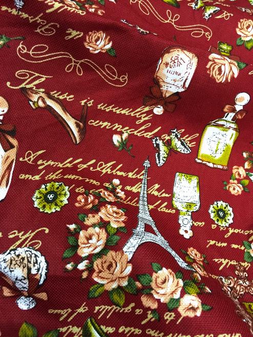 "Paris Rosette Print 100% Cotton Fabric 44""W - Burgundy Red"