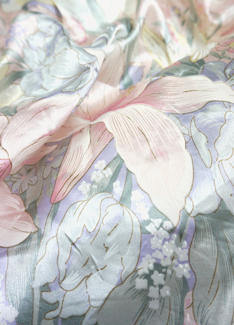 """Ivory Pink Green Floral Lily Faux Silk Satin 48""""W Fabric"""