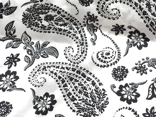 "Paisley Faux Silk Satin 48""W Fabric - Ivory & Black"
