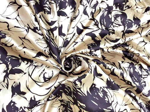 """Roses Floral Ivory Black Faux Silk Satin 48""""W Fabric"""