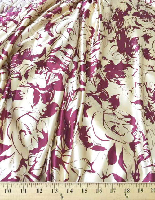 """Roses Floral Ivory & Burgundy Faux Silk Satin 48""""W Fabric"""