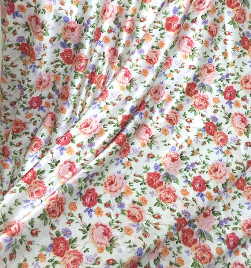 "Floral Roses Ivory-Orange-Lavender Faux Silk Satin 48""W Fabric"