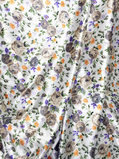 "Floral Roses Ivory-Taupe-Purple Faux Silk Satin 48""W Fabric"