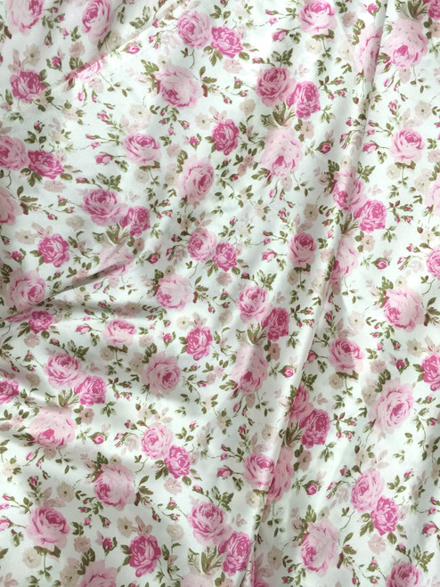 """Floral Roses Ivory-Pink Faux Silk Satin 48""""W Fabric"""