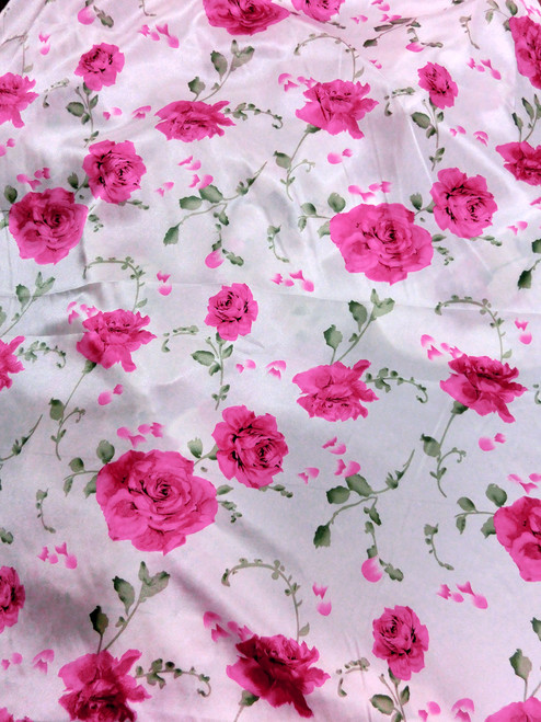 "Floral Red Roses Faux Silk White Satin 48""W Fabric"