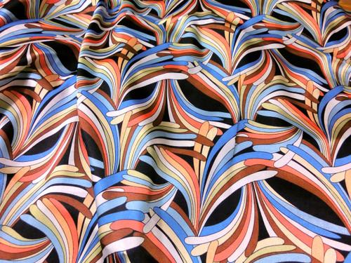 "Neo Palm Blue-Orange-Black Faux Silk Satin 48""W Fabric"