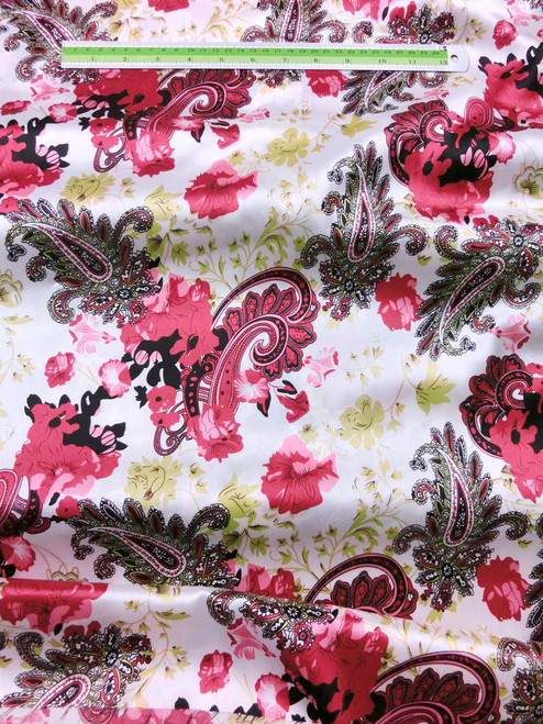 "Paisley Faux Silk Satin 48""W Fabric - Ivory Red Black"