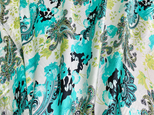 "Paisley Faux Silk Satin 48""W Fabric - Ivory Green Turquoise"