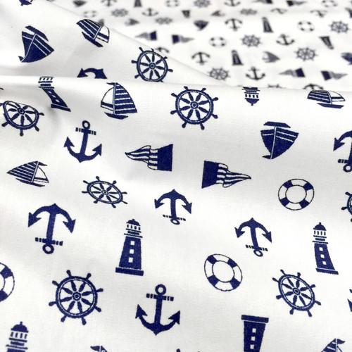 "Nautical Polished Cotton Fabric 44""W - White"