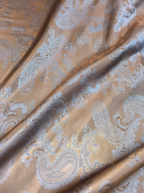 "Paisley Jacquard Viscose Fabric 60""W - Gold Brown Blue"
