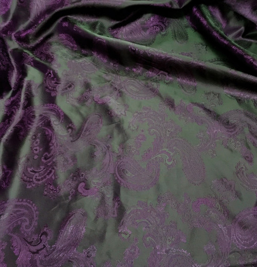 "Paisley Jacquard Viscose Fabric 60""W - Purple & Black"